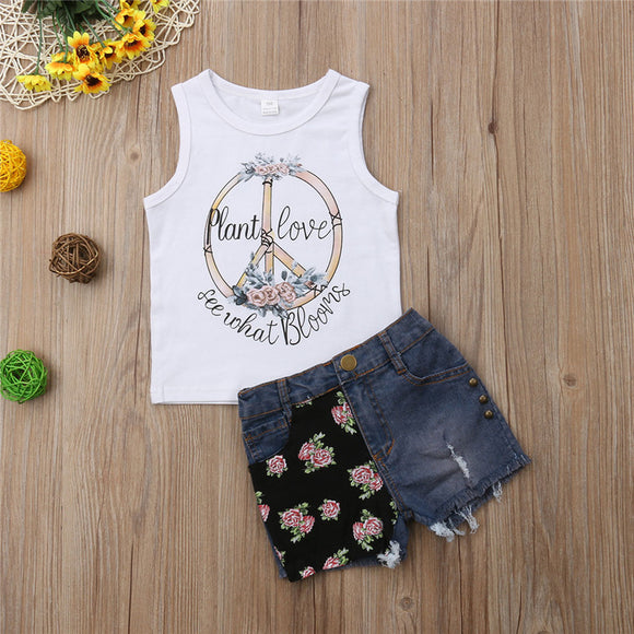 Plant Love See What Blooms Tank W/ Floral Denim Shorts
