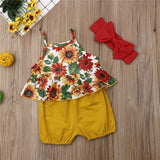 Floral Sling Top W/ Mustard Shorts & Matching Headband