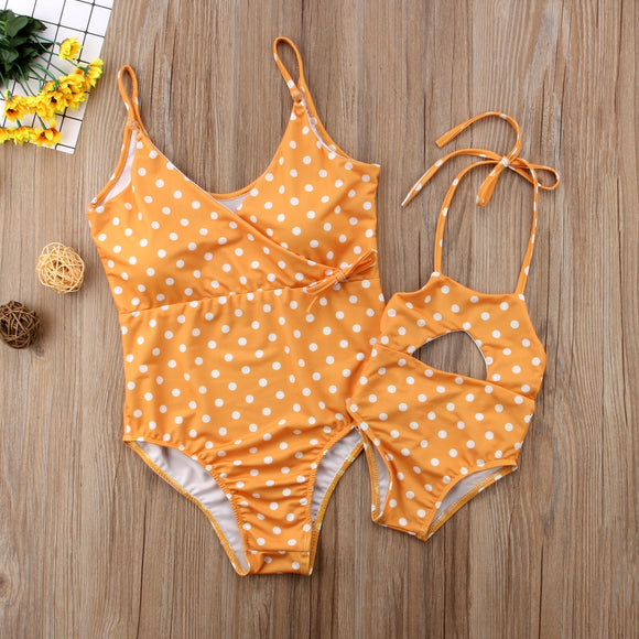 Matching Mother & Daughter Mustard Polka Dot Swimsuits