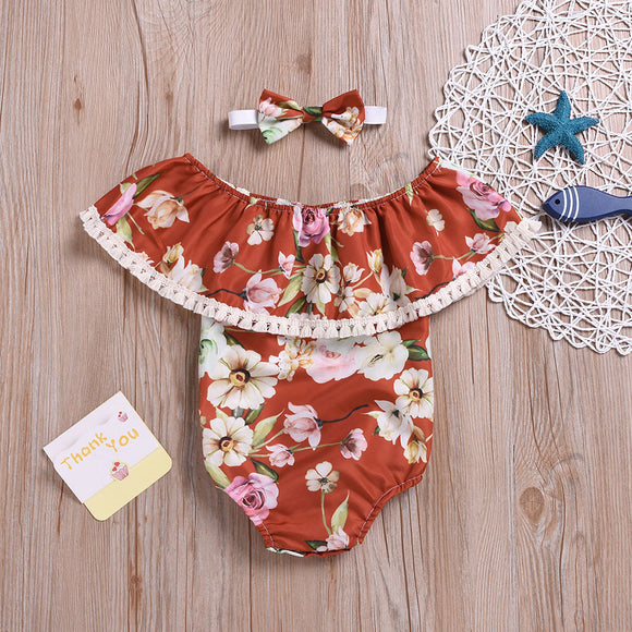 Floral Ruffle Top Sunsuit W/ Matching Headband