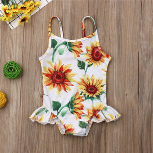 White Sunflower One Piece Ruffle Swimsuit