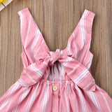 Striped Bowknot Button Sundress