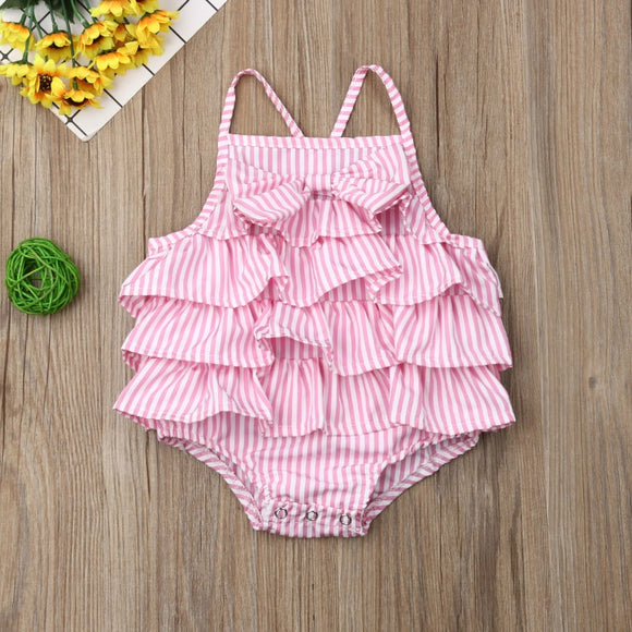 Pink Striped Ruffle Bowknot Sunsuit
