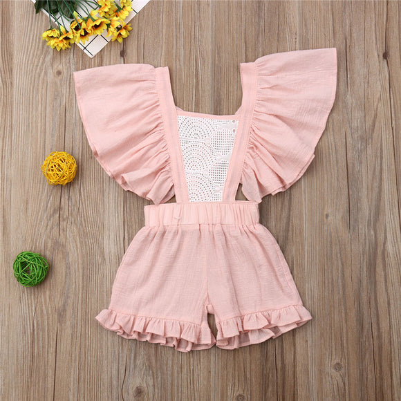 Pink Lace Fly Sleeve Ruffle Romper Sunsuit
