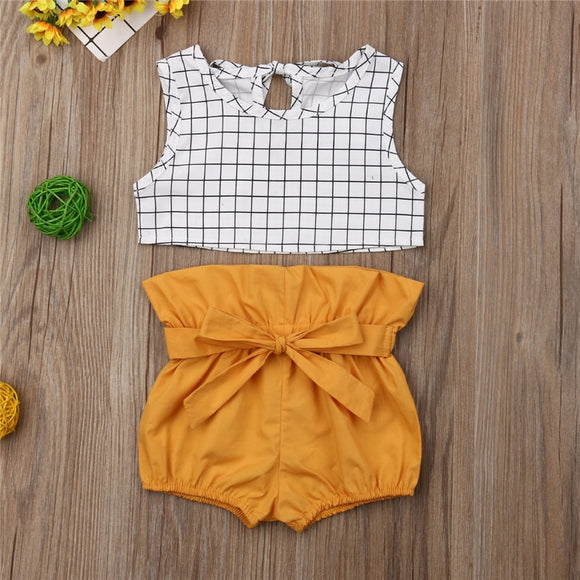 White Squared Crop Top W/ Mustard Bowknot Bottoms