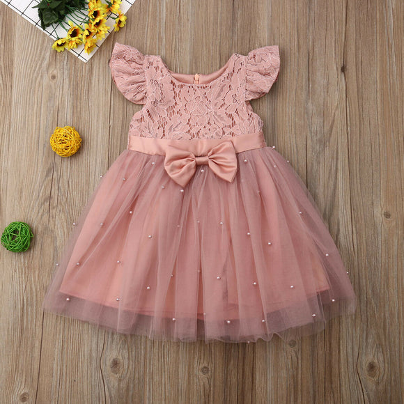 Dusty Pink Lace Floral Bowknot Tutu Dress