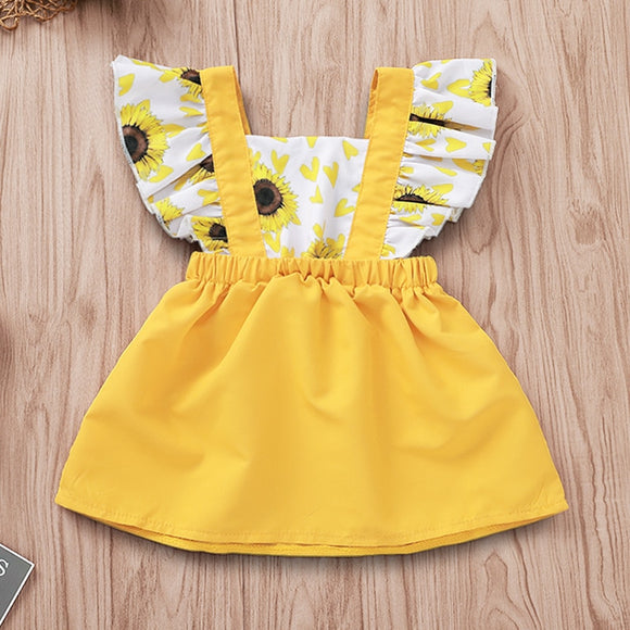 Sunflower Heart Pattern Fly Sleeve Sundress