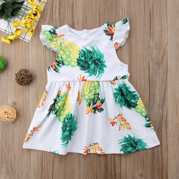 Aloha Pineapple Fly Sleeve Sundress