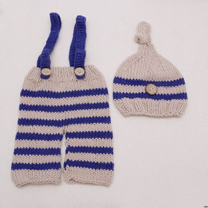 Newborn Baby Crochet Striped Suspender Pants W/ Matching Cap