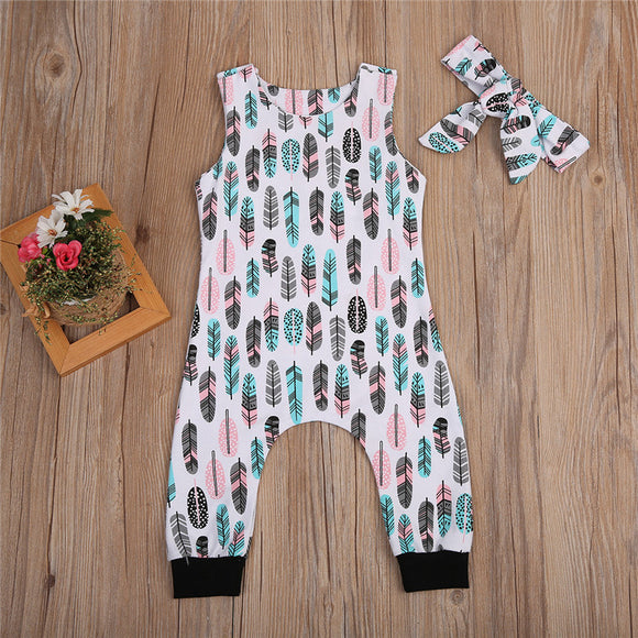 Feather Print Romper Jumpsuit W/ Matching Headband