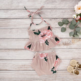 Pink Floral Ruffle Halter Top W/ Matching Bottoms