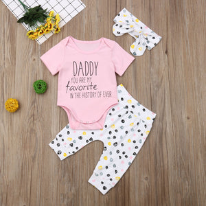 Daddy You Are My Favorite Bodysuit W/ Matching Pants & Headband