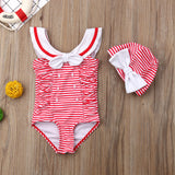 Striped Bowknot Swimsuit W/ Matching Swimming Cap