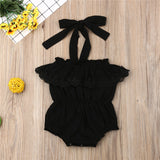 Black Lace Ruffle Halter Sunsuit