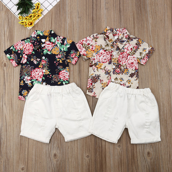 Gentleman's Floral Collared Button Top W/ White Ripped Denim Shorts