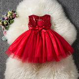 Sequin Open Back Bowknot Tutu Dress