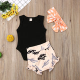 Black Sleeveless Bodysuit W/ Cactus Print Bloomers & Polka Dot Headband