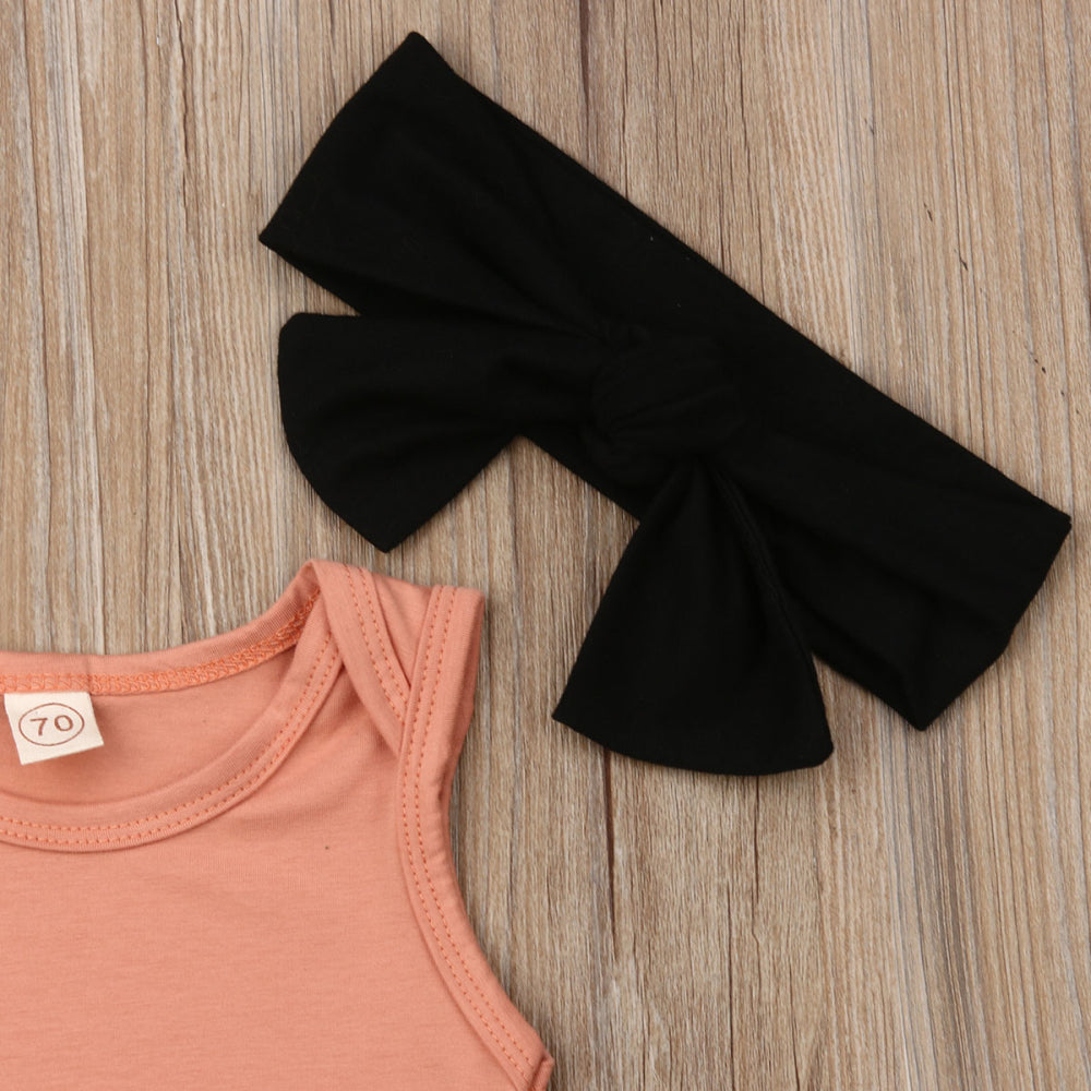 Orange Sleeveless Bodysuit W/ Baby Pink Ruffle Bottoms & Black Headband
