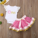 Doughnut One Fly Sleeve Bodysuit W/ Pink & Gold Bowknot Tutu Skirt