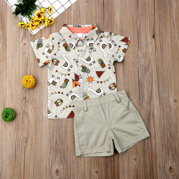 Llama Desert Collared Button Top W/ Matching Shorts