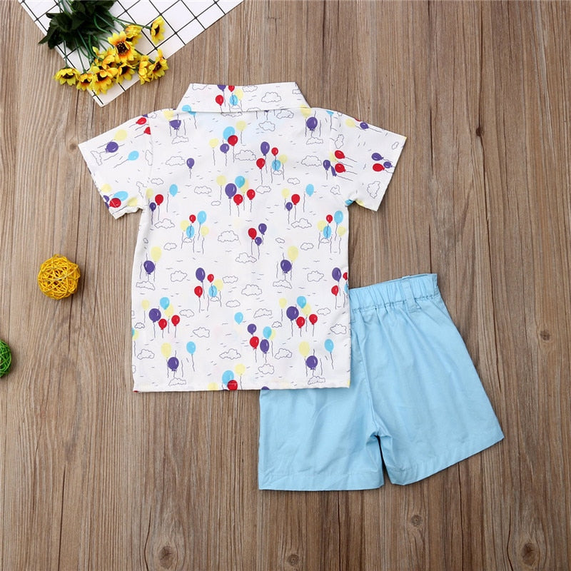 Happy Day Balloon Print Collared Top W/ Matching Sky Blue Shorts