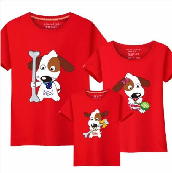 3 Pcs Matching Family T-Shirts (Cartoon Dog Design) Red / Baby 120Cm