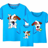3 Pcs Matching Family T-Shirts (Cartoon Dog Design) Sky Blue / Baby 120Cm