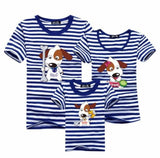 3 Pcs Matching Family T-Shirts (Cartoon Dog Design) Navy Blue / Baby 120Cm