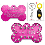 Customized Dog Name Tags Hot Pink Bling / S