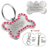 Customized Dog Name Tags Diamante Pink / S