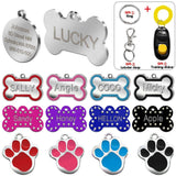 Customized Dog Name Tags Black Paw / L