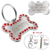 Customized Dog Name Tags Diamante Red / S
