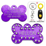 Customized Dog Name Tags Purple Bling / S
