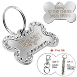 Customized Dog Name Tags Diamante Silver / S