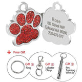Customized Dog Name Tags Glitter Red Paw / S