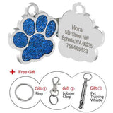 Customized Dog Name Tags Glitter Blue Paw / S