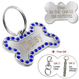 Customized Dog Name Tags Diamante Blue / S