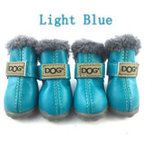 Fur-Lined Non-Slip Dog Winter Boots Light Blue / S (2)
