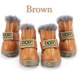 Fur-Lined Non-Slip Dog Winter Boots Brown / L (4)