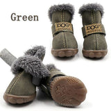 Fur-Lined Non-Slip Dog Winter Boots Green / S (2)