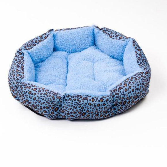 Leopard-Print Dog Bed Warm And Comfy Blue / M