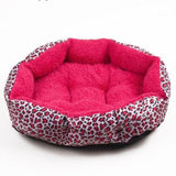 Leopard-Print Dog Bed Warm And Comfy Hot Pink / M