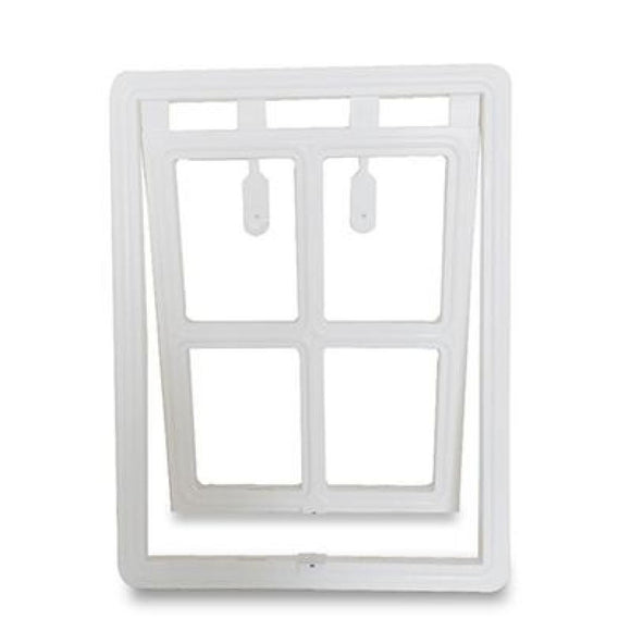 Lockable Plastic Dog Door For Mesh Screen White / Large