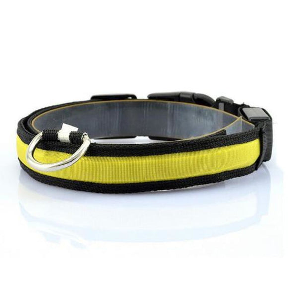 Nylon Led Night Safety Glow Collar Yellow / S