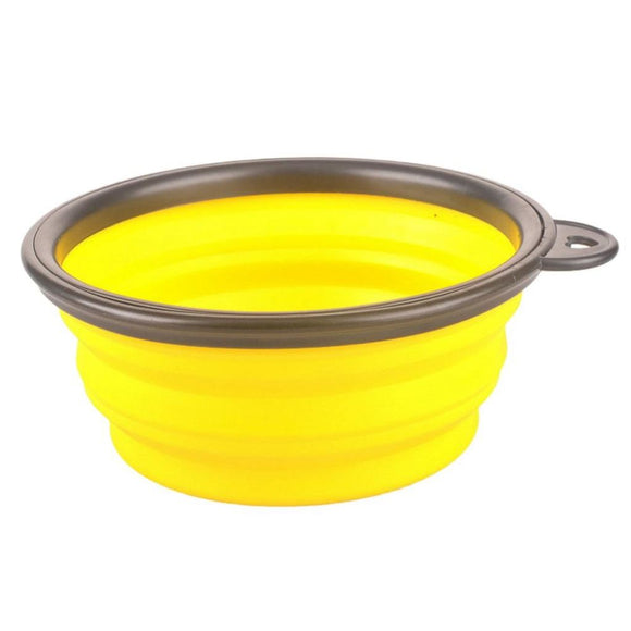 Portable Folding Food/ Water Bowl Yellow Bowls & Feeders