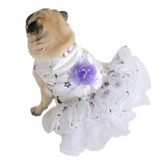 Purple Flower Dog Dress Large Skirt