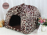 Warm Corduroy Dog Bed (Strawberry Shape And Leopard Print) Giraffe Style / Large