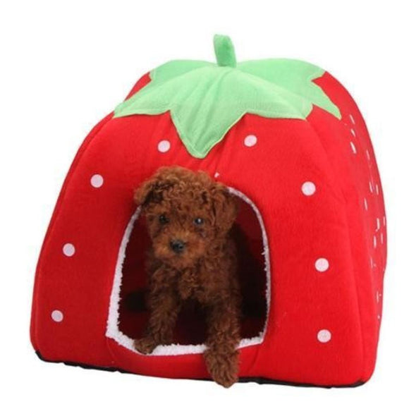 Warm Corduroy Dog Bed (Strawberry Shape And Leopard Print)