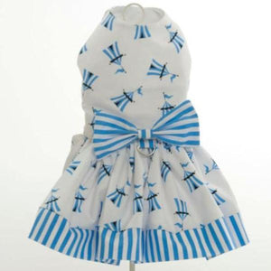 White Dog Dress With Blue And Tents L Skirt