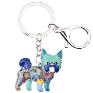 Yorkie Dog Key Chain (Multiple Colors) Blue Keychains